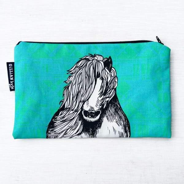 Tartan Pony accessory pouch, make up bag, pencil case