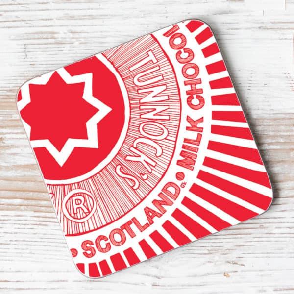 Tunnock's tea Cake Wrapper single coaster by Gillian Kyle