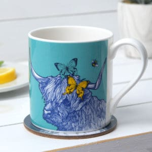 Highland cow, Butterflies and Bees mugs by Gillian Kyle