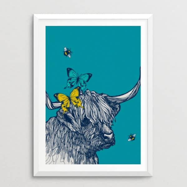 Highland Cow with Butterflies & Bees Print
