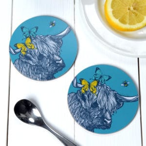 Highland Cow, Butterflies and Bees coasters by Gillian Kyle