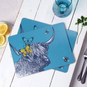 Highland Cow Butterflies and Bees placemats by Gillian Kyle