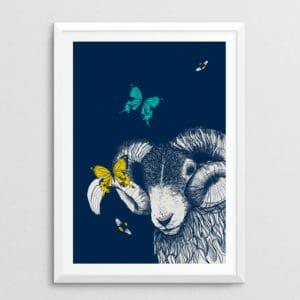 Blackface Sheep with Butterflies & Bees Print