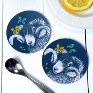 Blackface Ram, Butterflies and Bees coasters by Gillian Kyle