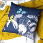 Blackface Ram, Butterflies and Bees cushion by Gillian Kyle