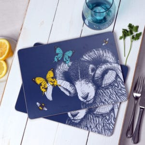 Blackface Ram, Butterflies and Bees placemats by Gillian Kyle