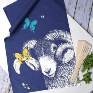 Blackface Ram, Butterflies and Bees tea towel by Gillian Kyle