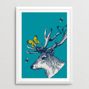 Stag with Butterflies & Bees Print