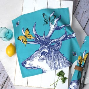 Stag cotton napkins by Gillian Kyle