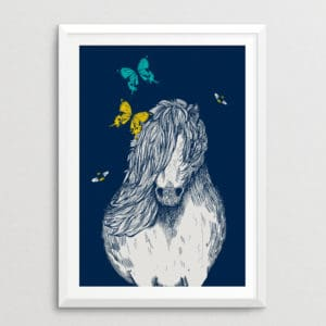 Shetland Pony with Butterflies & Bees Print