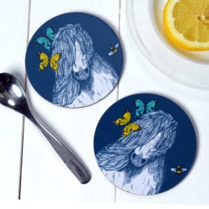 Shetland pony, Butterflies and Bees coasters by Gillian Kyle