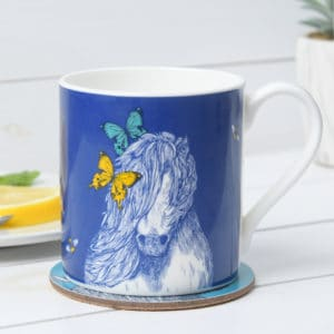 Shetland pony, Butterflies and Bees mugs by Gillian Kyle