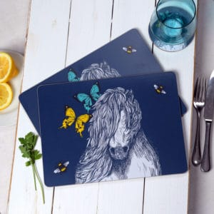 Shetland pony, Butterflies and Bees placemats by Gillian Kyle