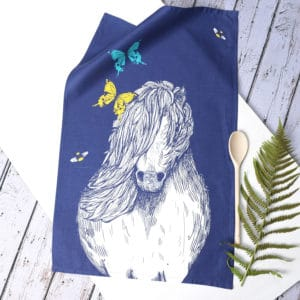 Shetland pony, Butterflies and Bees tea towel by Gillian Kyle