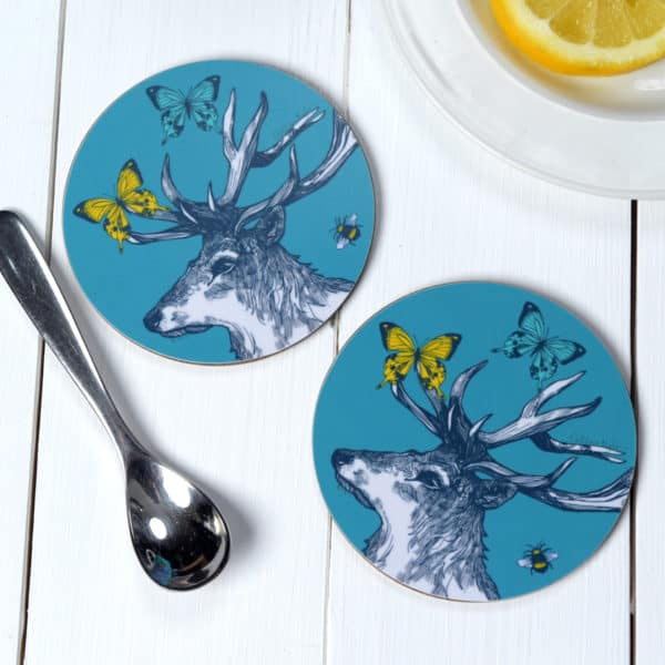 Stag, Butterflies and Bees coasters by Gillian Kyle
