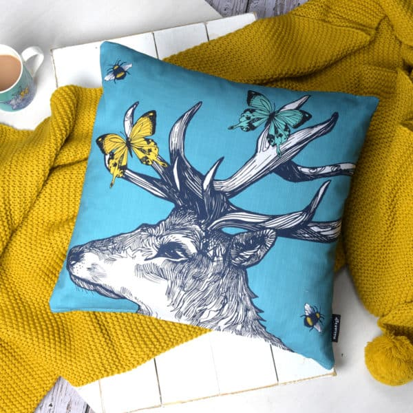 Stag, Butterflies and Bees tea towel by Gillian Kyle