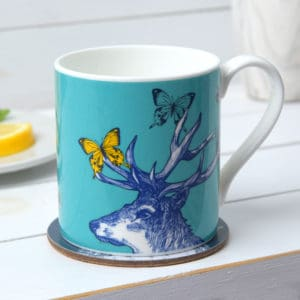 Stag Butterflies and Bees mugs by Gillian Kyle