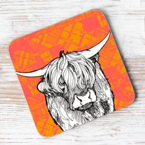Tartan Cow Individual Coaster
